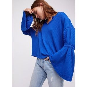 Free People We The Free Blue Dahlia Thermal Top F